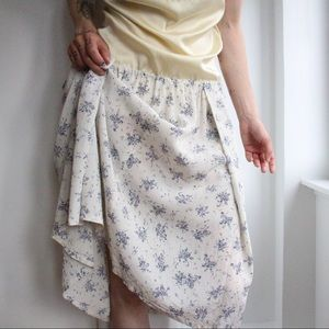 Vintage 1970's Rayon Floral Skirt